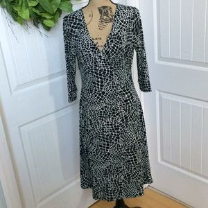 Talbots 8P wrap dress black/white print 3/4 sleeve